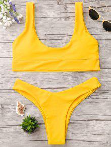 U Neck Bralette Thong Bikini - Bright Yellow M