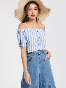 Off The Shoulder Buttons Striped Blouse - Light Blue L