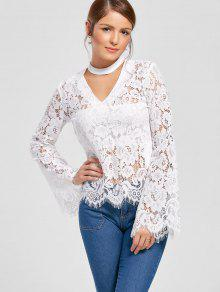 Flare Sleeve Choker Neck Lace Blouse - White Xl