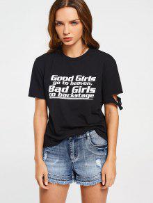 T-shirt Lettre Déchiré En Coton  - Noir 2xl