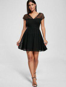 59% OFF  2019 Lace Yoke Open Back Skater Dress In BLACK M  9dfcfb9ce