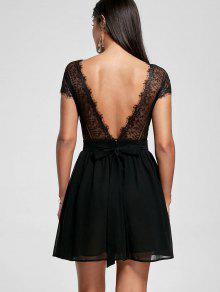 Lace Yoke Open Back Skater Dress - Black Xl
