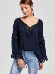 Lace Insert Flare Sleeve Bohemian Blouse - Purplish Blue Xl