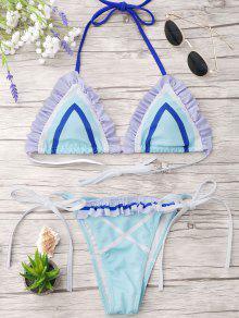 Halter Frilled String Bikini Set - Light Blue S