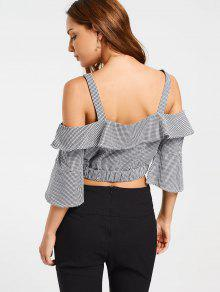 7f9d1ee6ef3b72 22% OFF] 2019 Checked Cold Shoulder Cropped Blouse In CHECKED | ZAFUL