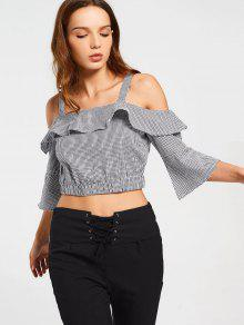 Checked Cold Shoulder Cropped Blouse - Checked M