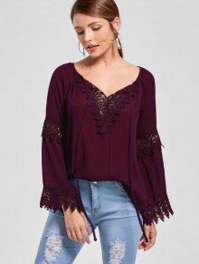 Lace Insert Flare Sleeve Bohemian Blouse - Dark Red L