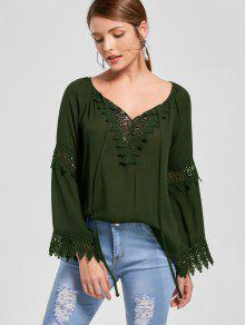 Lace Insert Flare Sleeve Bohemian Blouse - Olive Green 2xl