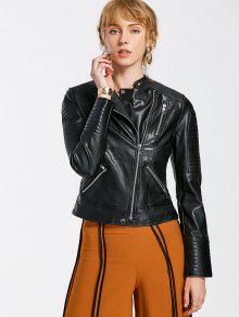 Embossed PU Leather Motocycle Jacket - Black S