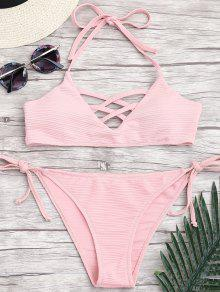 Ribbed Texture Strappy String Bikini - Rose Clair S