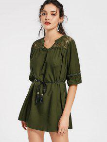 Notched Lace Panel Belted Mini Dress - Army Green M