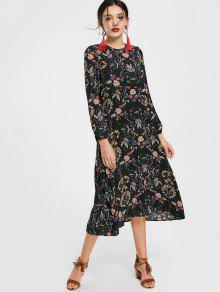 Cut Out Floral Print Long Sleeve Dress - Floral L