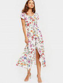 Front Slit Floral Ruffles Midi Dress - White M
