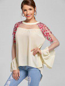 Embroidery Flare Sleeve High Low Hem Blouse - Light Beige 2xl