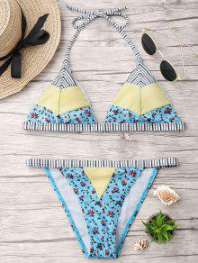 Pequeño Conjunto De Bikini Halter Floral Rayas - Azul Claro M