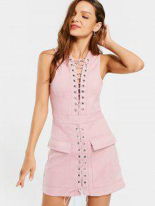 Sleeveless Lace Up Slit Mini Dress - Pink S