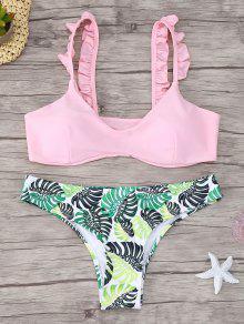 Frill Trim Scoop Neck Printed Bikini Set - Pink L