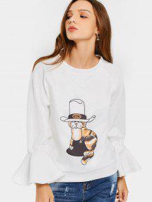 Flare Sleeve Cartoon Graphic Sweatshirt - White S
