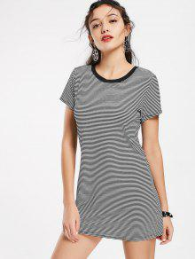 Round Collar Striped Mini Shift Dress - Stripe M