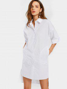 Longline High Low Oversized Shirt - White S
