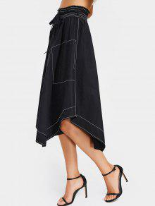 Button Up Asymmetrical Midi Skirt - Black M