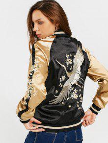 Floral Embroidered Double Side Souvenir Jacket - Black S