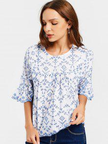 Flare Sleeve Embroidered Sheer Blouse - Blue And White L