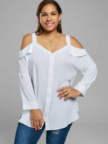 Plus Size Button Up Cold Shoulder Blouse - White Xl