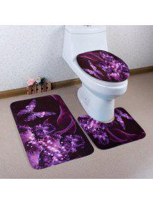 فراشة الزهور نمط 3 قطع المرحاض حصيرة حمام حصيرة - أرجواني