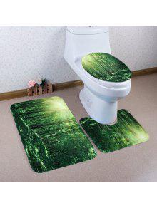 الغابات ضوء الشمس نمط 3 قطع المرحاض حصيرة حمام حصيرة -