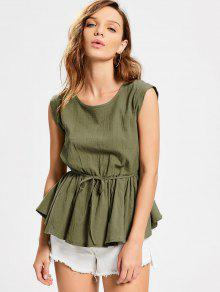 Belted Round Neck Smock Top - Army Green