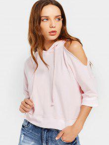 Loose Casual Cold Shoulder Hoodie - Pink S