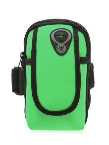 البوليستر كتلة اللون تشغيل الذراع حقيبة - أخضر
