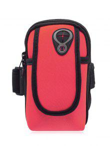 Polyester Colour Block Running Arm Bag - Red