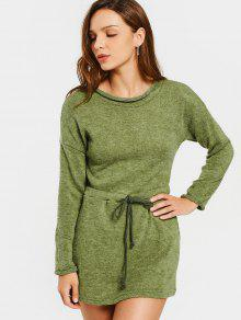 Long Sleeve Belted Sweater Mini Dress - Army Green Xl