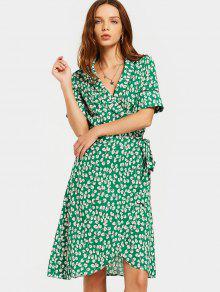 فستان انقسام شاطئ طباعة لف ميدي - أخضر L