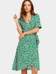 Slit Beach Printed Wrap Dress - Green S