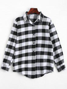 Button Up Checked Longline Shirt - Black Xl