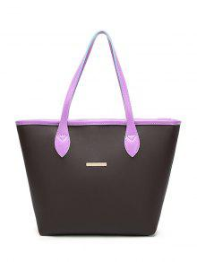 Faux Leather Metal Embellished Shoulder Bag - Purple