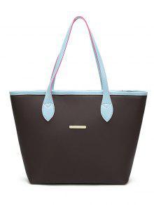 Faux Leather Metal Embellished Shoulder Bag - Blue