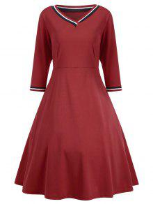 V Neck Three Quarter Sleeve Dress - Red M