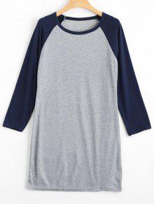 Raglan Sleeve Ribbed Knitted Dress - Purplish Blue S