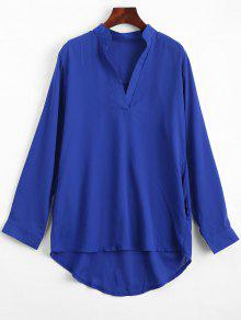V Neck Plain High Low Blouse - Blue M
