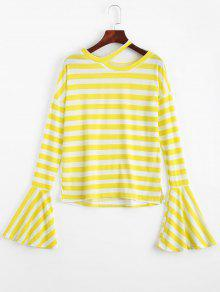 Drop Shoulder Flare Sleeve Striped Tee - Yellow