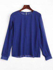Split Sleeve Sheer Blouse - Royal Xl