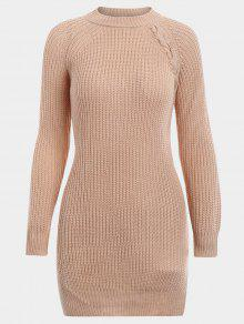 Buy Lace Side Slit Long Sweater - LIGHT KHAKI ONE SIZE