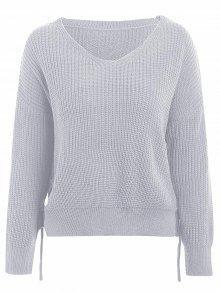 V Neck Side Lace Up Sweater - Light Grey