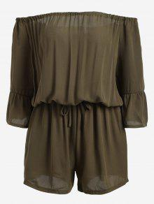 Off The Shoulder Flare Sleeve Romper - Army Green