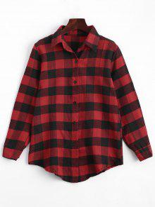 Button Up Checked Longline Shirt - Red Xl