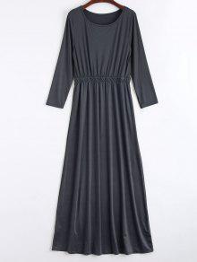 Round Collar Long Sleeve Maxi Dress - Deep Gray S